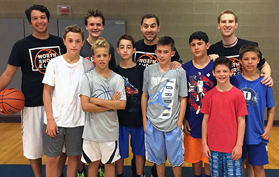 North Shore Elite Basketball Clinic middle school participants and coaches